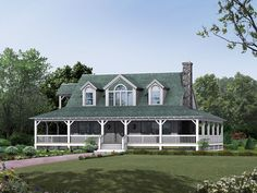 Farmhouse Complete With A WrapAround Porch And Balcony love