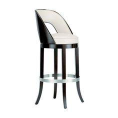 Beautiful Spaulding Bar Stool Design with Round Top and White Leather Top and Back Support also Lacquered Wood Legs and Metallic Round Base Cool Chairs, Bar Chairs, Dining Chairs, High Chairs, Eames Chairs, Luxury Bar, Designer Bar Stools, Office Chair Without Wheels, Beautiful Sofas