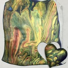 """Sheet of polymer after Karen Woods did a """"dirty pour"""" with acrylic metallic paints. Polymer Clay Painting, Polymer Clay Tools, Fimo Clay, Polymer Clay Projects, Polymer Clay Creations, Polymer Clay Beads, Video Fimo, Karen Wood, Polymer Project"""
