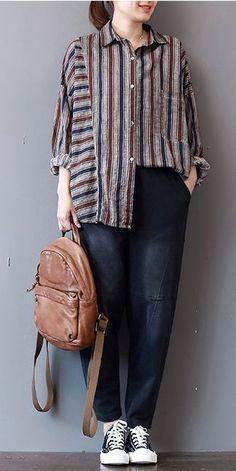 Coffee Vintage Striped Cotton Linen Shirt For Women - New In Tops Trendy Fashion, Winter Fashion, Womens Fashion, Trendy Style, Winter Rock, Hijab Fashion, Fashion Outfits, Pantalon Large, Winter Stil