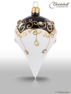 Vánoční ozdoba * bílo černé sklo zdobené zlatem.