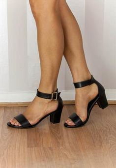 BLACK PU OPEN TOE MID HEEL SANDAL WITH ANKLE STRAP (ADELE)