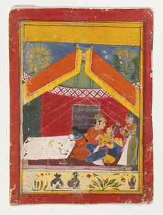 An Illustration from a Ragamala or Rasika  Priya Series: A Royal Couple Beneath A Tent. Opaque watercolor heightened with gold on paper, India, Rajasthan, Mewar, Early-Mid 17th Century