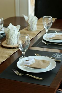 Create a simple, rustic tablescape using Canvas Corp's Chalkstock Placemats, burlap table runner, tissuestock, and paper bags!