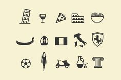This beautiful icon collection has been inspired by Italy! Included are landmarks such as the leaning tower of Pisa and the Colosseum, a pizza, bowl of pasta, Italian Restaurant Logos, Logo Restaurant, Italy Logo, Italy Map, Italy Italy, Business Brochure, Business Card Logo, Pisa Italia, Pizza Icon
