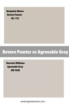Benjamin Moore Revere Pewter HC-172 vs. Sherwin Williams Agreeable gray. Find out how they differ and what similarities they have in common. #gray #home #paintcolors #greige Sherwin Williams Agreeable Gray, Sherwin Williams Grau, Sherwin Williams Revere Pewter, Revere Pewter Benjamin Moore, Benjamin Moore Colors, Benjamin Moore Paint, Light Grey Paint Colors, Warm Gray Paint, Greige Paint Colors