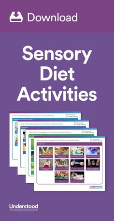"A sensory diet can help ""even things out"" if your child is overexcited at times or too tired at others. It can provide your child with the sensory input she needs to be in a ""just right"" state. Sensory Motor, Sensory Diet, Sensory Issues, Sensory Activities, Therapy Activities, Sensory Play, Therapy Ideas, Sensory Therapy, Play Therapy"
