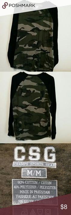 Men's camouflage print shirt Men's camouflage print long sleeve T-shirt, black sleeves Champs Sports Gear Shirts Tees - Long Sleeve
