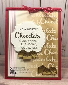 Chocolate Card, Chocolate Cookies, Post It Note Holders, Coffee Cards, Sweet Cupcakes, 3d Tutorial, Stampin Up Catalog, Jingle All The Way, Love You More Than