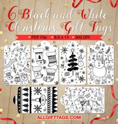 Printable black and white Christmas gift tags. The gift tags feature Christmas doodles including candy canes, snowmen, and more. Get them in PDF format at http://allgifttags.com/download/black-and-white-christmas-gift-tags/