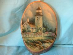 "Vintage ""Lighthouse"" Wall Hanging on Wood Lacquered Tree Slice Wall Plaque"