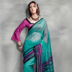 Turquoise Green Super Net Saree with Blouse