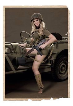 Girl, gun, Willys Jeep  - Salute Our Veterans by Supporting the Businesses of www.VeteransDirectory.com and Hiring Veterans. Post Jobs at www.HireAVeteran.com