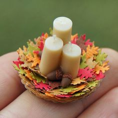 Dollhouse Miniature Thanksgiving Candle by jellybeanminis on Etsy, $13.00
