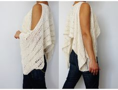 A unique, versatile, flattering design for any figure! Wear it two way as a long sleeve sweater with cutouts large kimono style sleeves or as a cover-up. Choose a cotton yarn for a lovely and cool feel against skin or soft wool fibres blend yarn for a warm version of this design. Knit