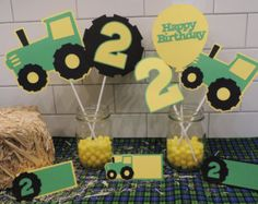 diy john deere party ideas | John Deere inspired centerpieces. I ncludes tractors, tractor tire ...