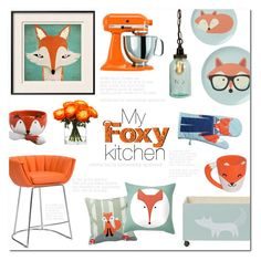 """""""My Foxy Kitchen"""" by alexandrazeres ❤ liked on Polyvore featuring interior, interiors, interior design, home, home decor, interior decorating, Zuo, Bloomingville, KitchenAid and Lux-Art Silks"""