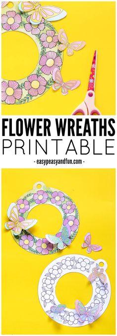 Printable Flower Wreaths – Simple Spring Craft Idea
