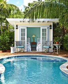 House of Turquoise. Small pool house, or just small house!