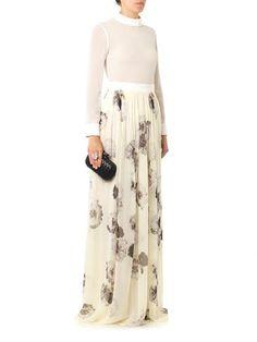 Giambattista Valli Floral-print silk-chiffon skirt