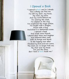 Wall Art Decal: I Opened a Book Vinyl Lettering Quote for Room Decoration Vinyl Wall Quotes, Vinyl Wall Art, Wall Decals, Vinyl Decals, Library Signage, Creative Wall Decor, Wall Borders, Christmas Quotes, Cool Posters
