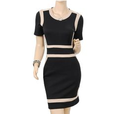 Ladies Office Ladies Black Bodycon Stretch Slim Mine Business Dresses US sz 4-12 Features: Intro: Round neck, Soft and Comfortable Fabric.Office Business dress Color:Black + pink Material: 65%Cotton+32.5%Rayon/2.5%Spandex US SIZE: 4-12 www.apuremall.com