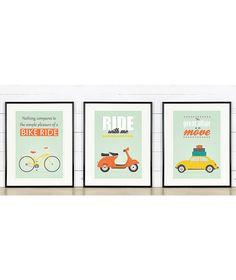 Affiche rétro, ensemble A3, vélo, scooter vespa, vw beetle, mi-siècle design, design scandinave, impression, source d'inspiration affiche, ETSY, 36,67€