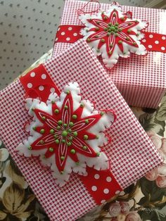 Different patterns and texture in holiday gift wrapping.