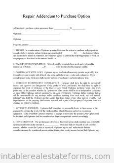 Printable Sample repair addendum 2 Form