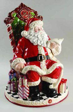 Christopher Radko Cookie Jar Visits To Santa - Boxed by Christopher Radko Christmas Cookie Jars, Christmas Dishes, Christmas Ideas, Merry Christmas, Xmas, Santa Cookies, Holiday Cookies, Teapot Cookies, Santa Decorations