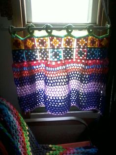Wanna try--love the multicolored look for a curtain. Bollywood-ish. --Pia (Crochet curtains)