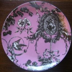 Decorative Dishes - Rose Pink Black Toile Cameo Birds Ribbon Bow Romantic Plate B, $19.99 (http://www.decorativedishes.net/rose-pink-black-toile-cameo-birds-ribbon-bow-romantic-plate-b/)