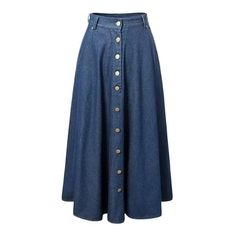 Women's Fashion Button Front Pleated Maxi Denim Skirt (645 UAH) ❤ liked on Polyvore featuring skirts, blue, denim skirt, long pleated skirt, pleated skirt, long maxi skirts and blue skirt