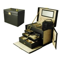 """BDD1080 Features: Three drawers Extra drawer for watches Side panels open to hold 10 chains or pearls Removable travel box Lock and key Construction: Constructed of leather Dimensions: Weight: 7 lbs Dimensions: 10.5"""" H x 7"""" W x 8.75"""" D'"""