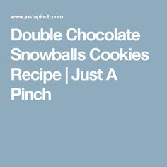 Double Chocolate Snowballs Cookies Recipe | Just A Pinch