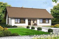 Projekt domu Endo 113,29 m2 - koszt budowy - EXTRADOM Roof Design, House Design, One Floor House Plans, Rural House, House Viewing, Spanish Style Homes, Wooden House, Cottage Homes, Simple House