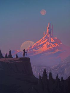 The Art Of Animation, Cosimo Galluzzi Landscape Concept, Fantasy Landscape, Landscape Art, Landscape Paintings, Landscapes, Arte Sci Fi, Sci Fi Art, Fantasy Concept Art, Fantasy Art