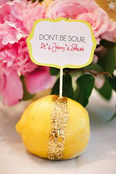 Glitter Bridal Shower Centerpieces + Dessert Table in Pink and Yellow