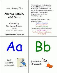 Training Happy Hearts: Alerting Activity ABC Cards Sensory Diet Ideas