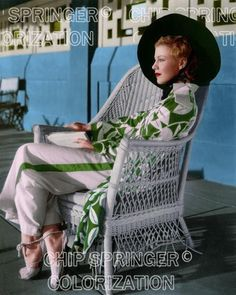 GINGER ROGERS IN WICKER CHAIR POOLSIDE BEAUTIFUL COLOR PHOTO BY CHIP SPRINGER. Please visit my Ebay Store, Legends of the Silver Screen, at http://stores.ebay.com/x5dr/ to see the current listings of your favorite Stars now in glorious color! Message me if you would like me to relist your favorites. Check out my New Youtube videos at https://www.youtube.com/channel/UCyX926rA5x4seARq5WC8_0w