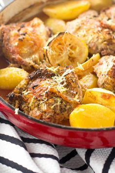 My healthy One Pot Greek Chicken recipe is full of bright lemony flavors and super tender potatoes. All made in one pot, with maximum flavor and minimum clean-up, this healthy chicken recipe is perfect for your weeknight meal! Greek Chicken And Potatoes, Greek Chicken Recipes, Healthy Chicken Recipes, Healthy Dinner Recipes, Vegetarian Recipes, Cooking Recipes, Chicken Bacon, Rotisserie Chicken, Yummy Recipes