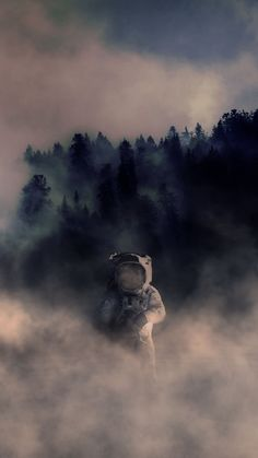 Forest Astronaut iPhone Wallpaper Erasable (Vinyl) Wallpapers: It can be the most famous background Space Artwork, Wallpaper Space, Galaxy Wallpaper, Cool Wallpaper, Wallpaper Backgrounds, Space Illustration, Astronauts In Space, Surreal Art, Photomontage