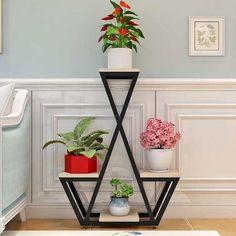 Garden Shelves, Plant Shelves, House Plants Decor, Plant Decor, Decoration Plante, Iron Furniture, Furniture Decor, Diy Plant Stand, Flower Stands