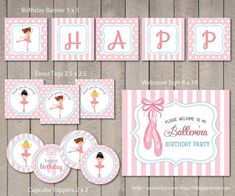 Ballerina Birthday / Ballerina Welcome Sign / Ballerina Party / Ballerina Party Printable / Ballerina Printable / Dance Printables / Ballerina Favor Tags / Ballerina Cupcake Toppers by Little Apples Design
