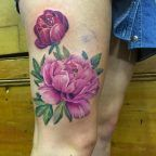 Pink peony on thigh by Esther Arocha