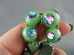 STUNNING! Antique Jadite Green Peacock Foil Graduated Glass Bead Necklace