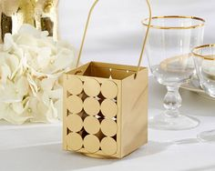 """Circle of Love"" Classic Gold Lanterns are unique decor for your modern romantic wedding!"