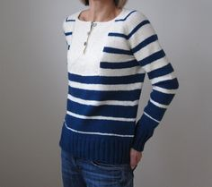 This sweater is super soft and light weight and perfect for any season, with its nautical stripes and front button detail - find the knitting pattern on LoveKnitting!