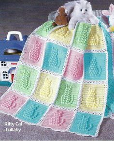 "Baby Blanket Crochet Pattern  Afghan Cover ""Kitty Cat Lullaby""  120 
