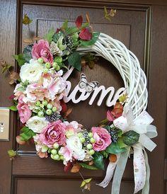 Door Wreaths, Grapevine Wreath, Grape Vines, Floral Wreath, Homemade, Doors, Spring, Flowers, Christmas